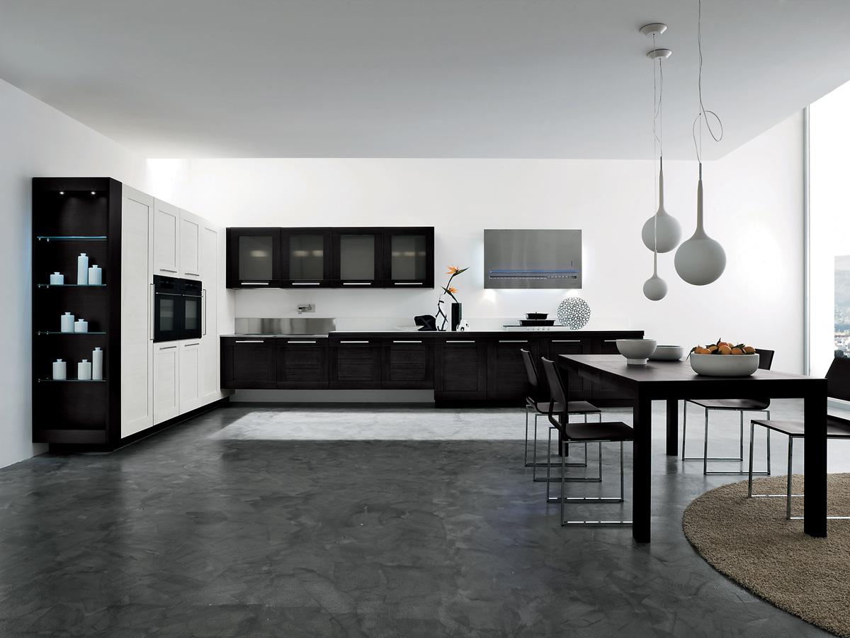Черно-белая гамма в кухонном интерьере