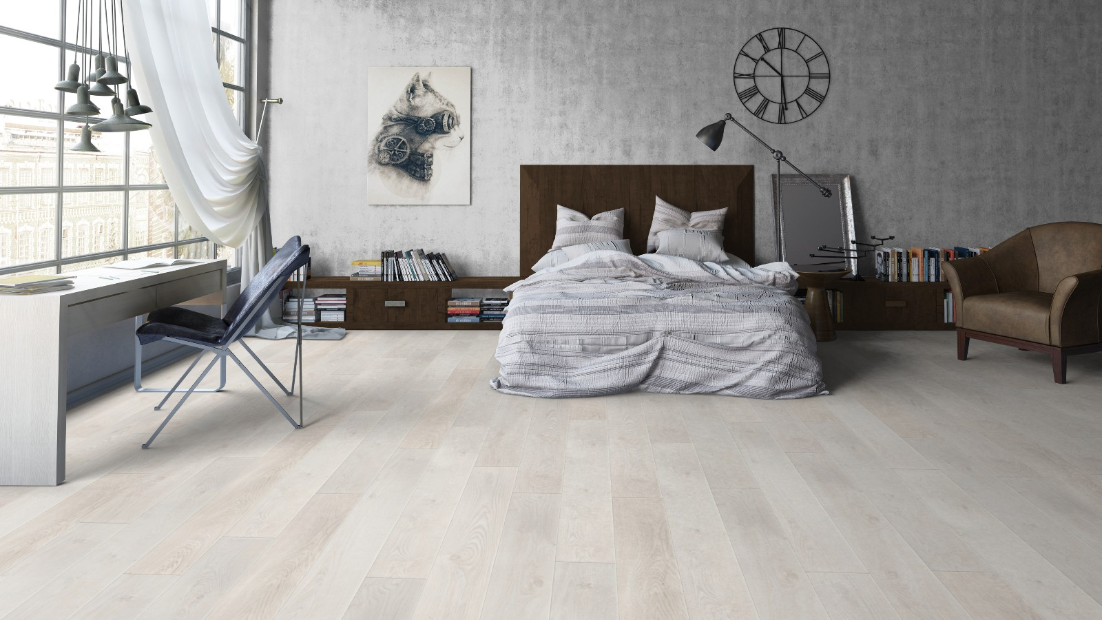 Ламинат белый дуб в спальне