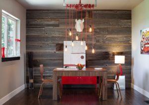 Ламинат на стенах в интерьере кухни
