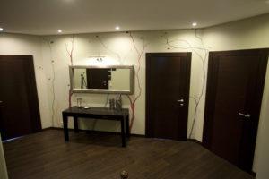 Сочетание ламината с темными дверьми