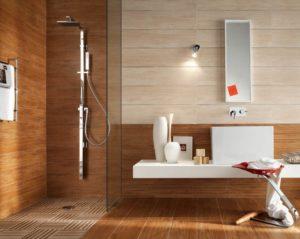 Сочетание плитки и ламината в ванной комнате