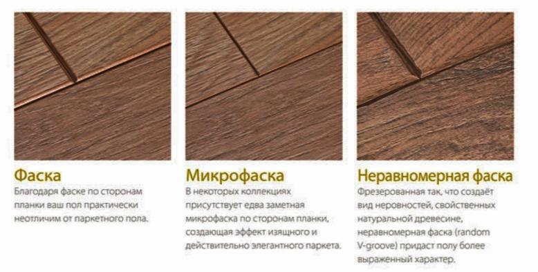 Разновидности фаски ламината