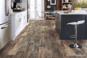 Фото темного влагостойкого ламината в интерьере кухни