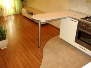 Интерьер помещения с комбинированным ламинатом на полу