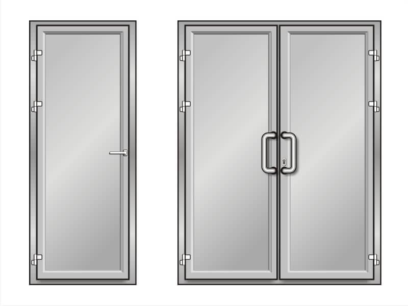 алюминиевая дверь без стекла