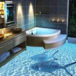 Наливные полы в ванной с объёмным 3D изображением – технология и преимущества